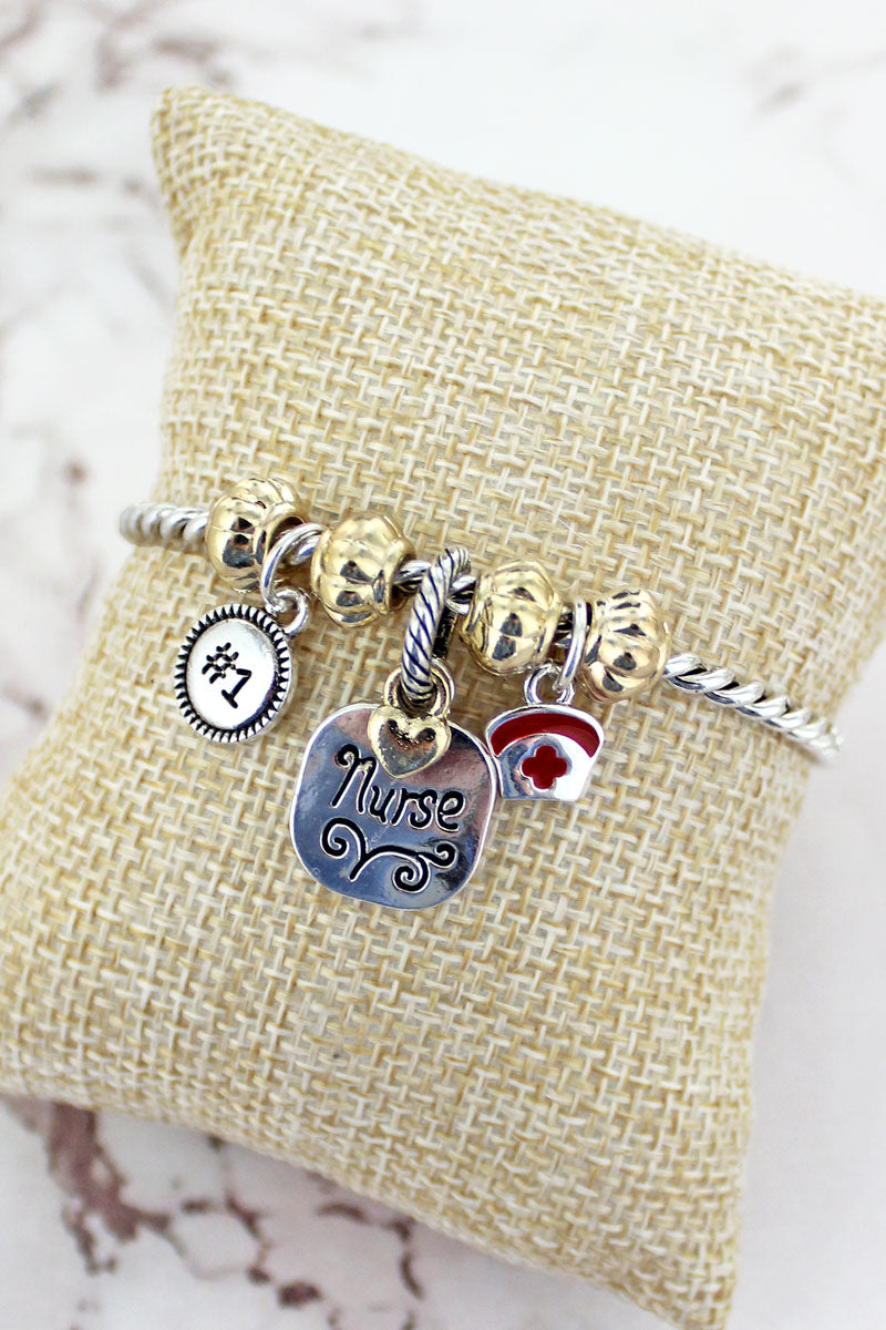 Two-Tone Nurse Charm Twisted Bracelet