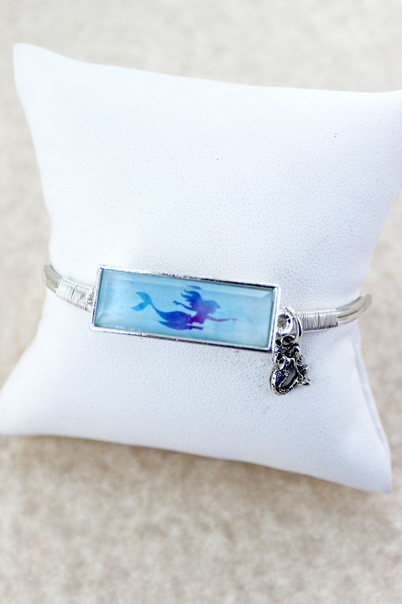 Mermaid Faceted Bar Silvertone Bracelet