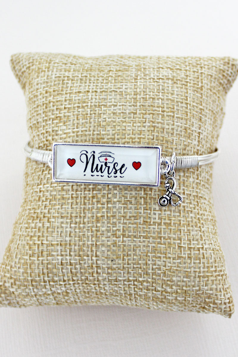 Nurse Faceted Bar Silvertone Bracelet