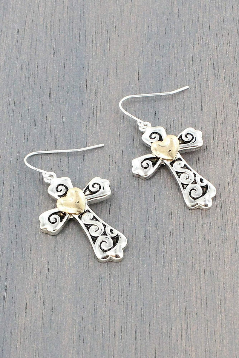 Two-Tone Heart Accented Scroll Cross Earrings