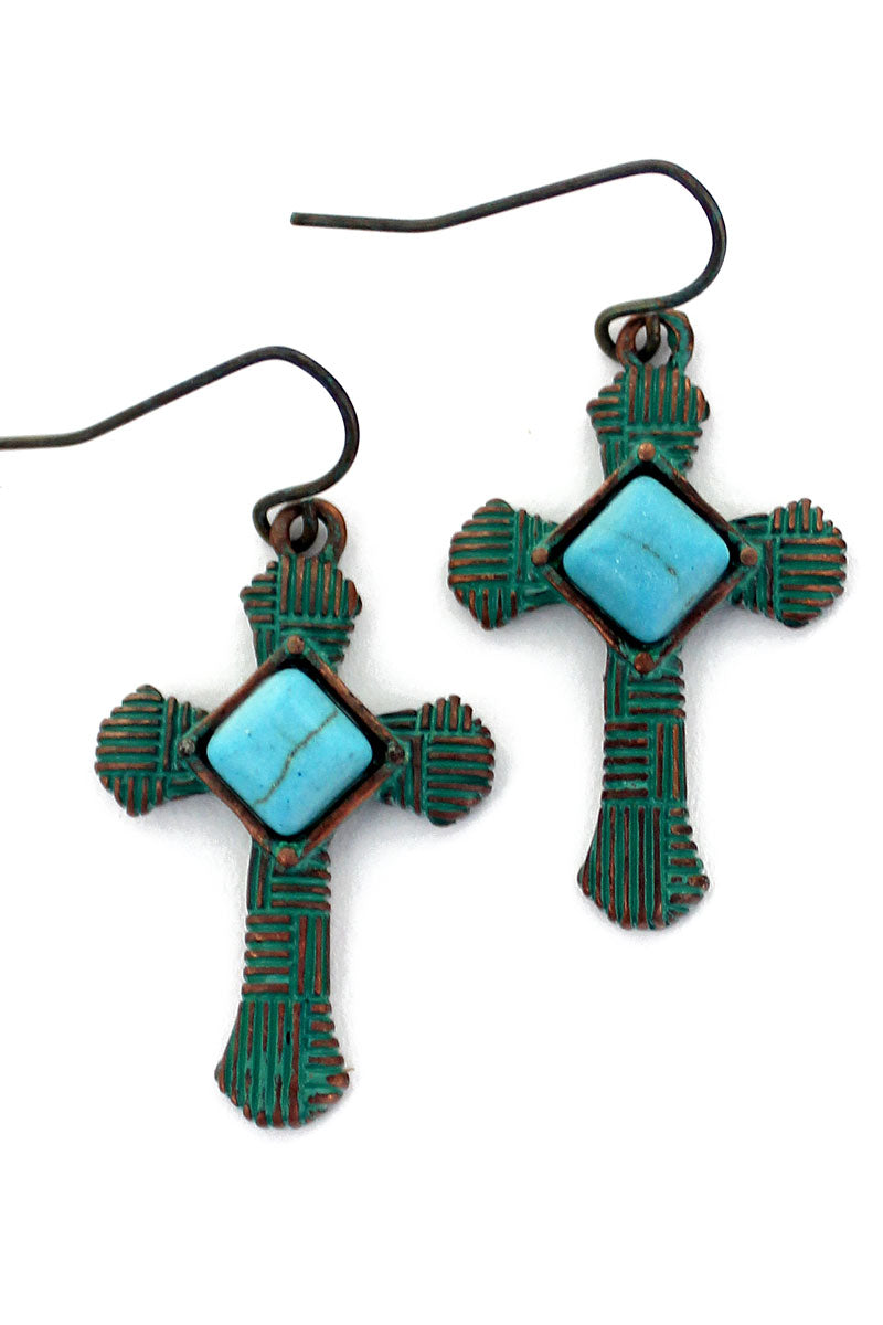 SALE! Patina and Turquoise Parquet Cross Earrings