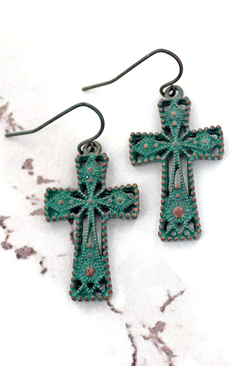 SALE! Patina Ornate Cross Earrings