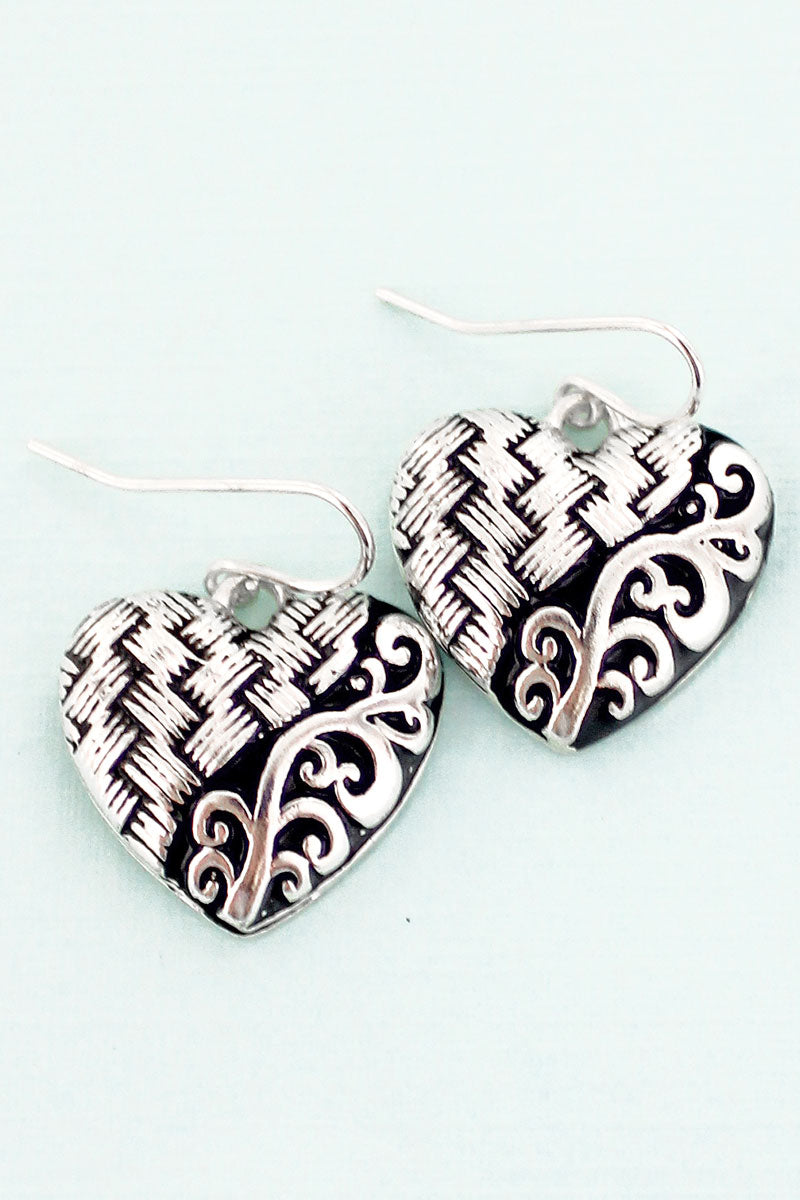 SALE! Silvertone Scroll and Basket Weave Heart Earrings