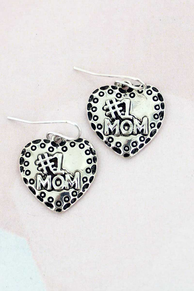 SALE! Silvertone '#1 Mom' Heart Earrings