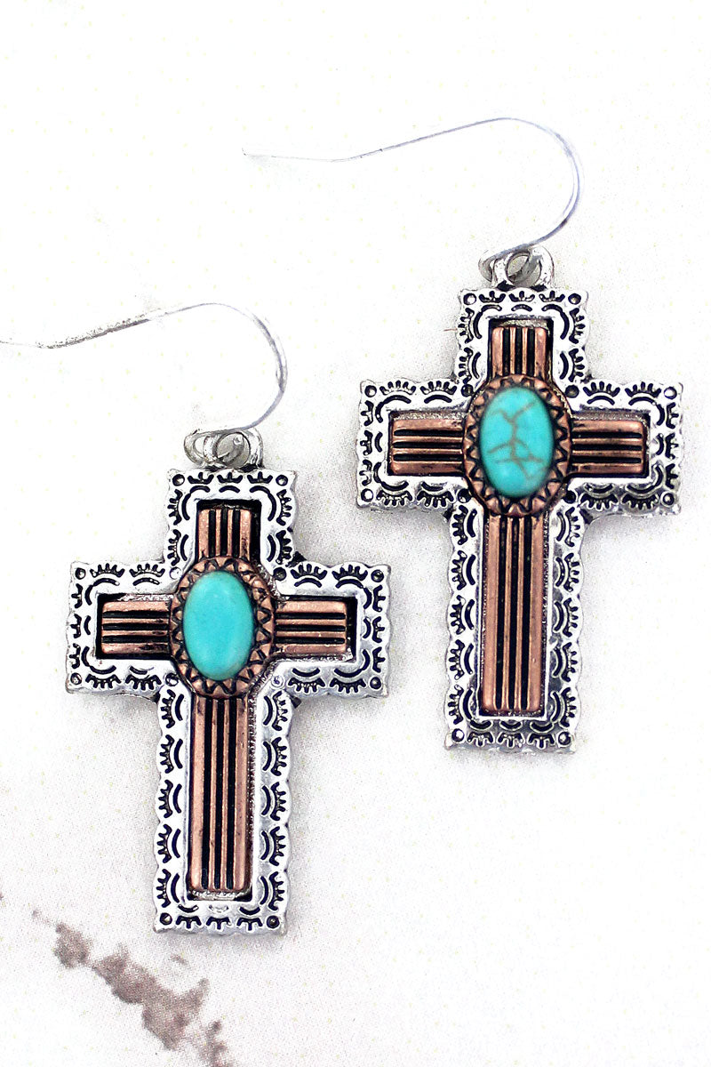 SALE! Two-Tone and Turquoise Western Cross Earrings