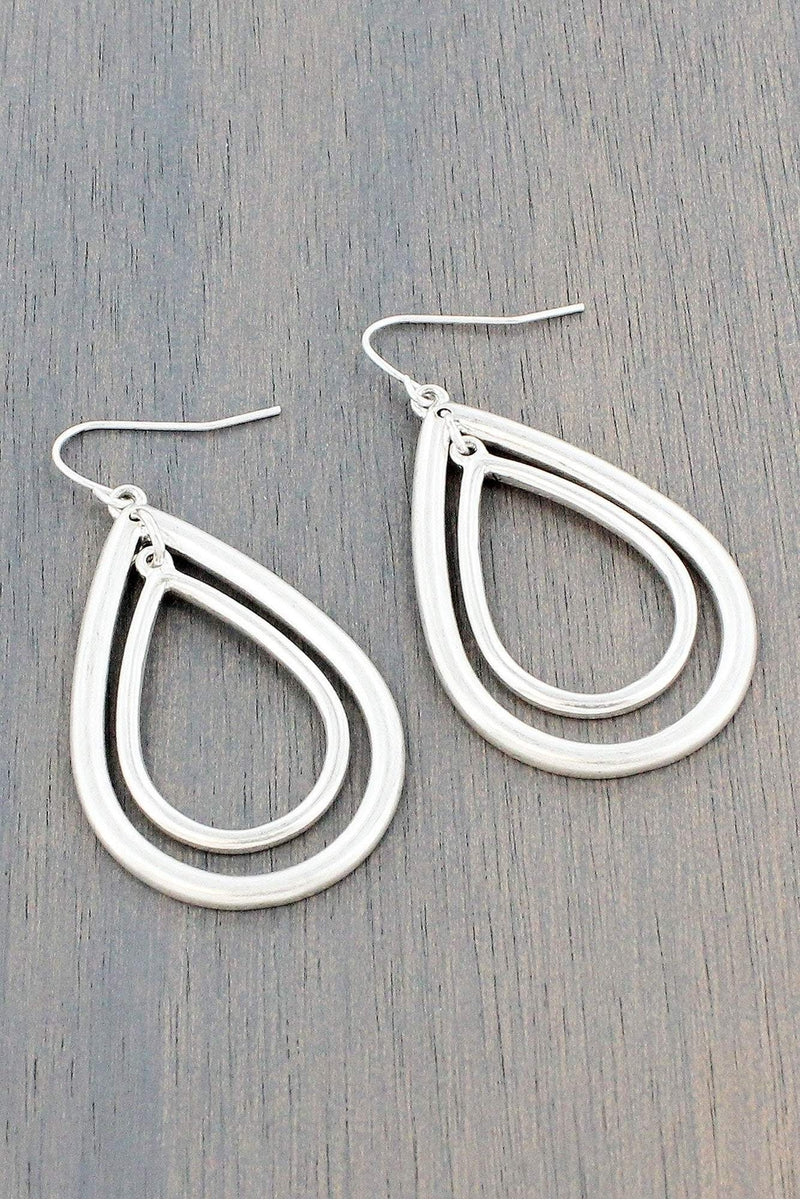 Worn Silvertone Layered Teardrop Earrings