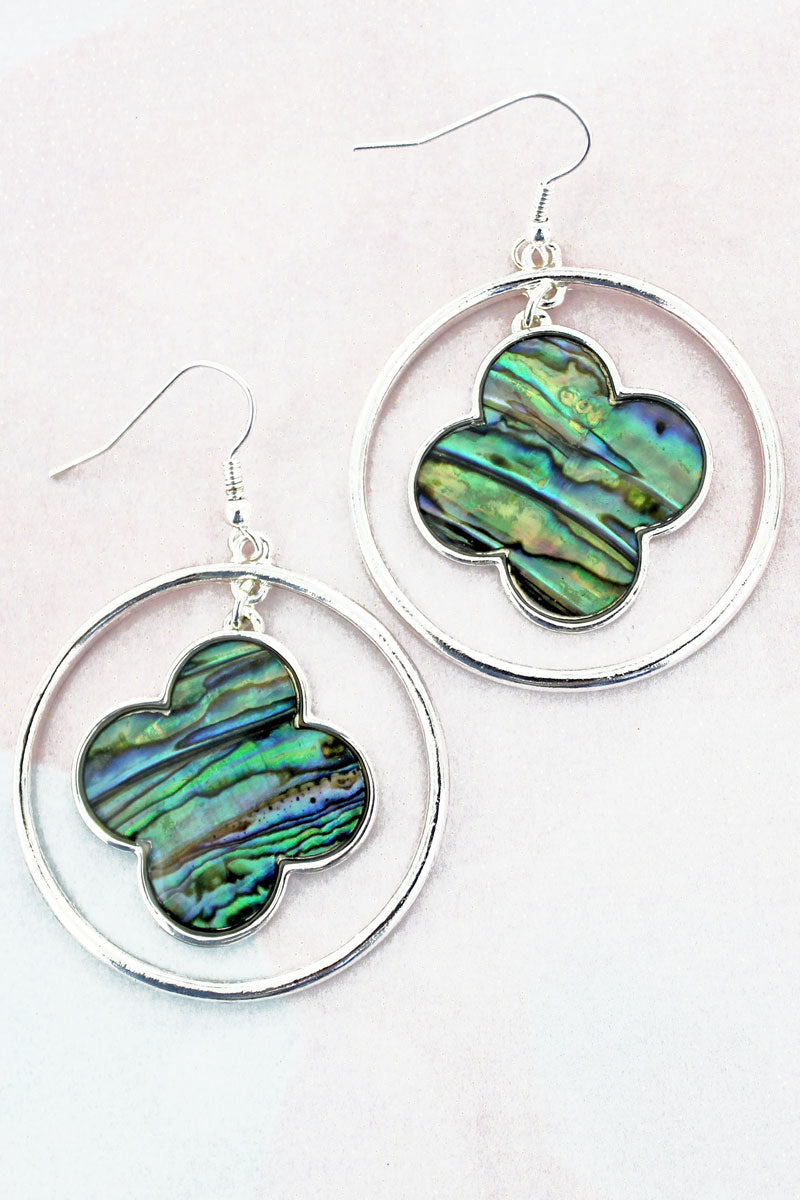 SALE! Silvertone Quatrefoil with Abalone Disk Earrings