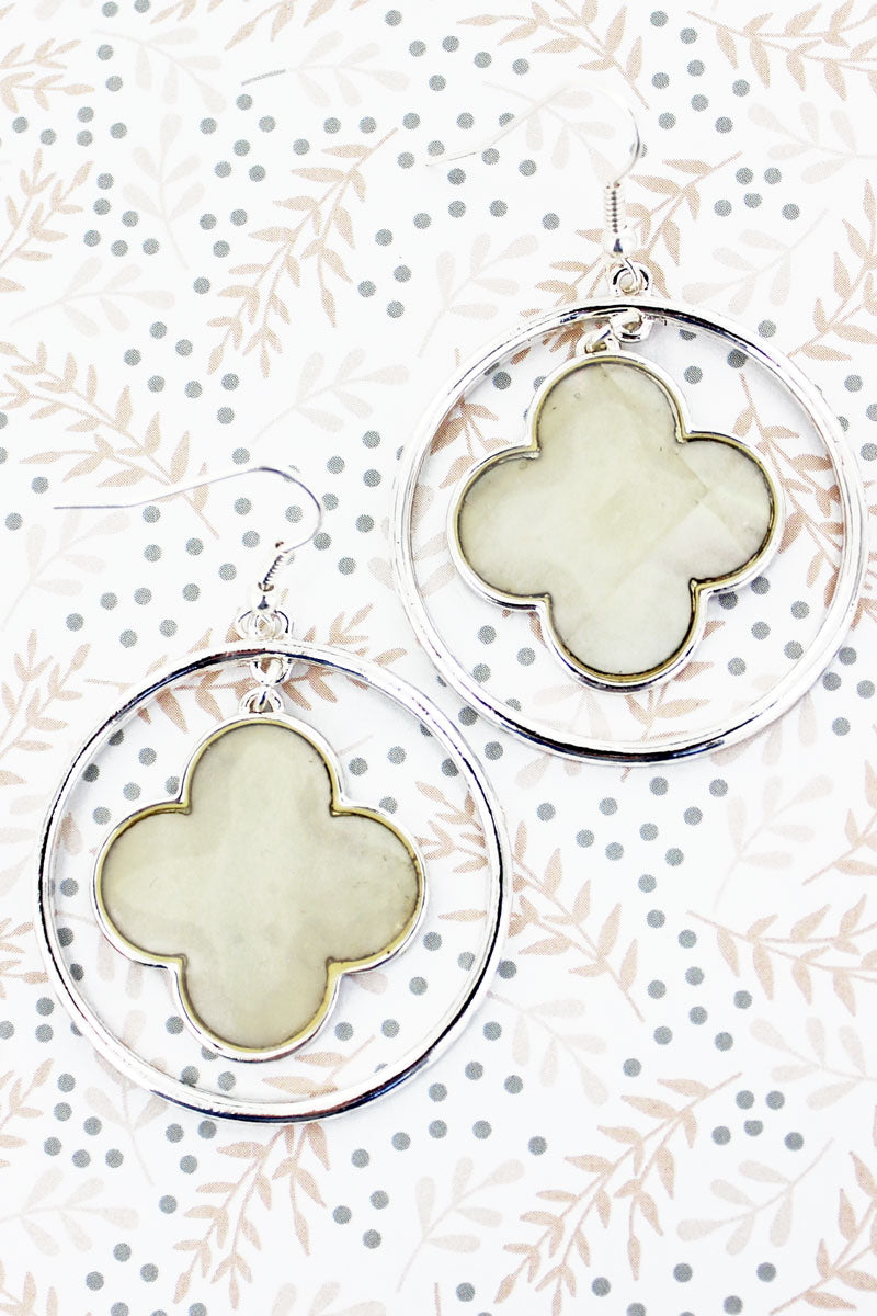 SALE! Silvertone Quatrefoil with Mother of Pearl Disk Earrings
