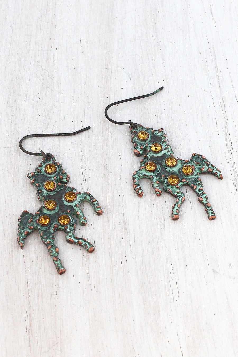 Topaz Crystal Accented Patina Coppertone Horse Earrings