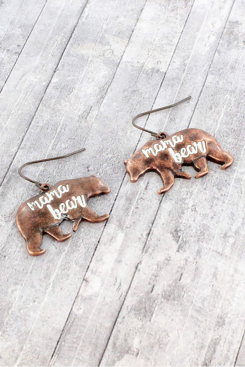 Worn Coppertone and White Patina 'Mama Bear' Earrings
