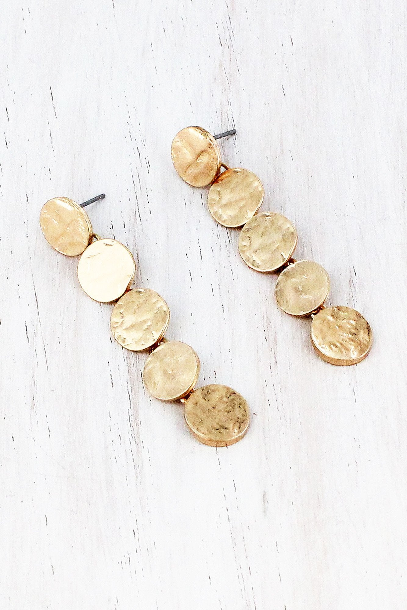 Dangling Worn Goldtone Linked Disk Earrings