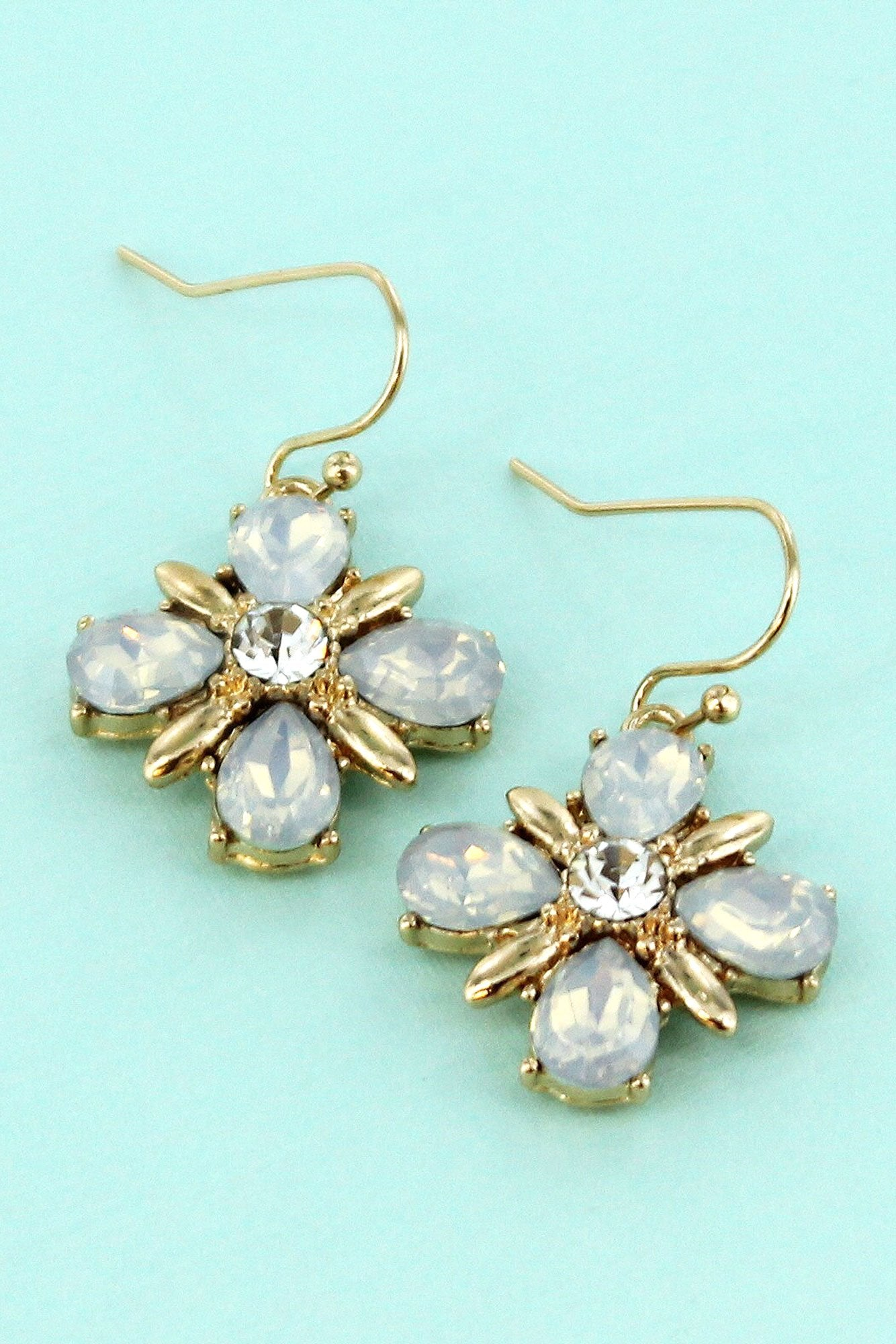 White Crystal And Goldtone Flower Earrings Wholesale Accessory Market