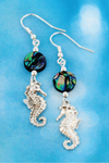 Abalone and Silvertone Seahorse Earrings
