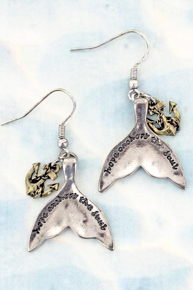 SALE! Two-Tone 'Hope Anchors The Soul' Mermaid Tail Earrings
