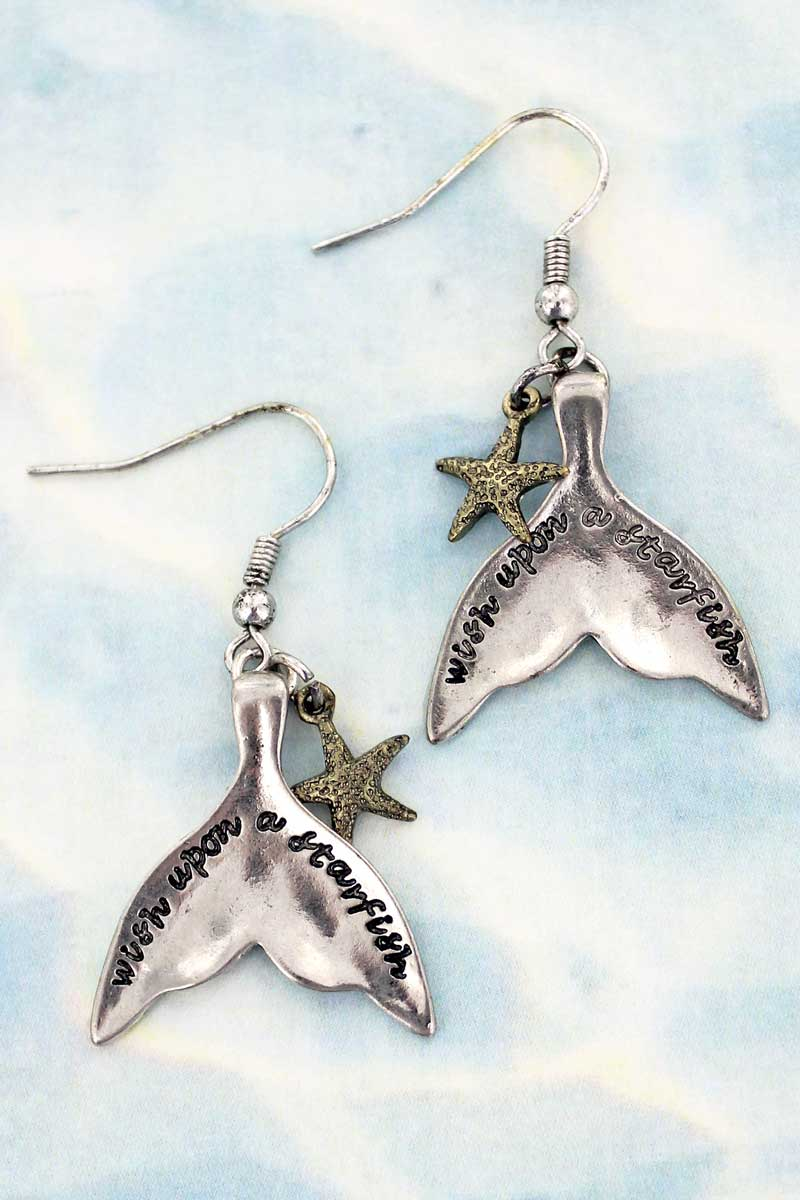 SALE! Two-Tone 'Wish Upon A Starfish' Mermaid Tail Earrings