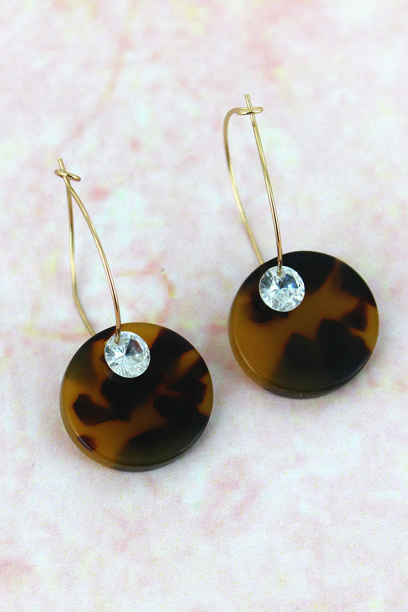 Tortoiseshell Disk with Crystal Hoop Earrings
