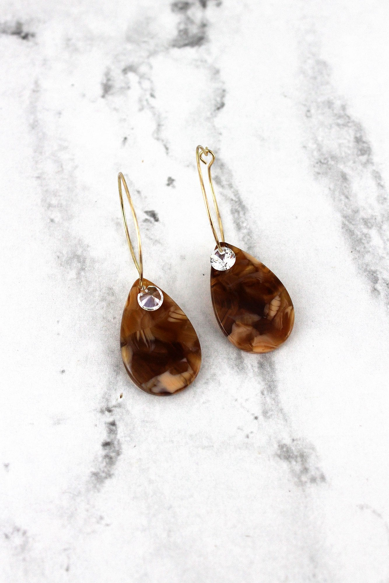 Light Brown Marbled Teardrop with Crystal Hoop Earrings
