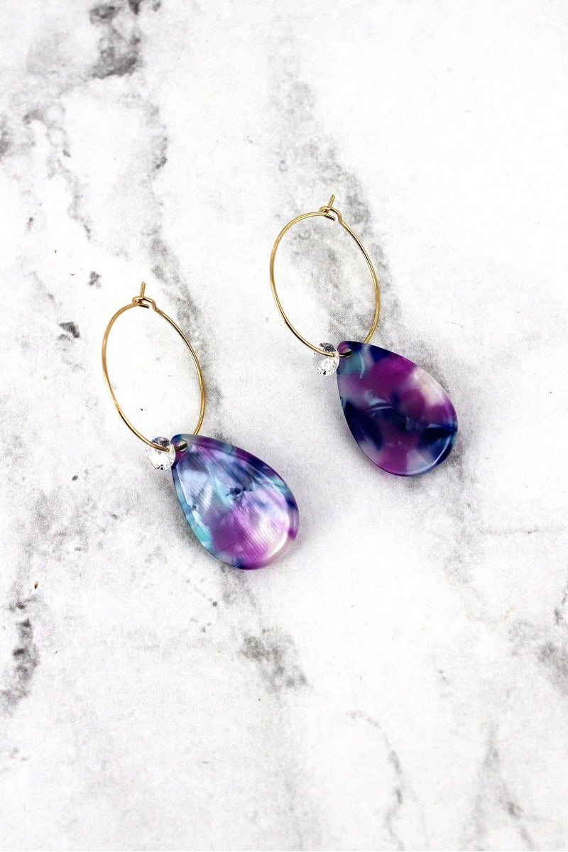 Purple Marbled Teardrop with Crystal Hoop Earrings