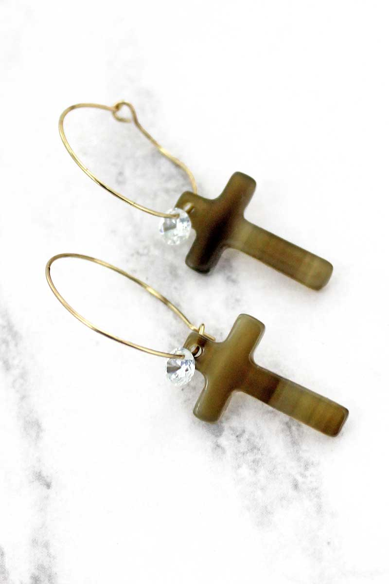 SALE! Natural Marbled Cross with Crystal Hoop Earrings