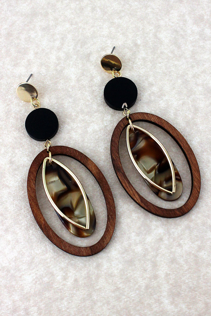 Wood, Goldtone, and Marbled Geo Glam Earrings