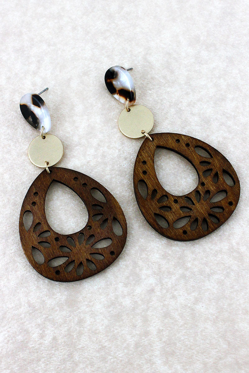 Cut-Out Wood and Marbled Teardrop Earrings