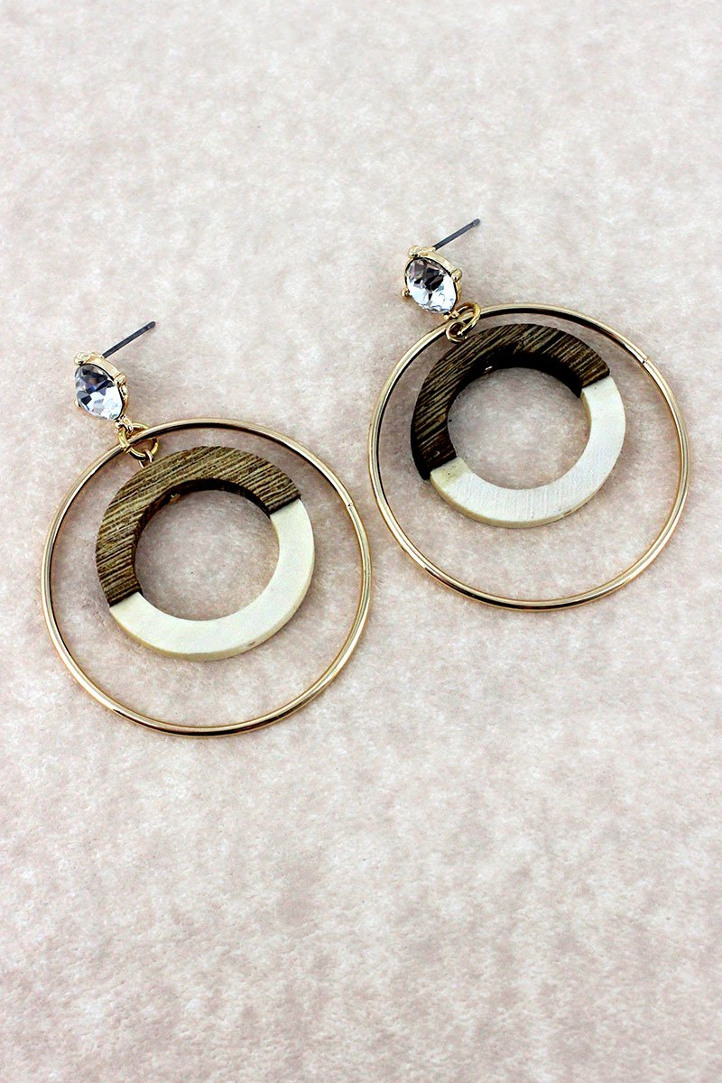 Crystal Stud with Goldtone and Wood Colorblock Circle Earrings