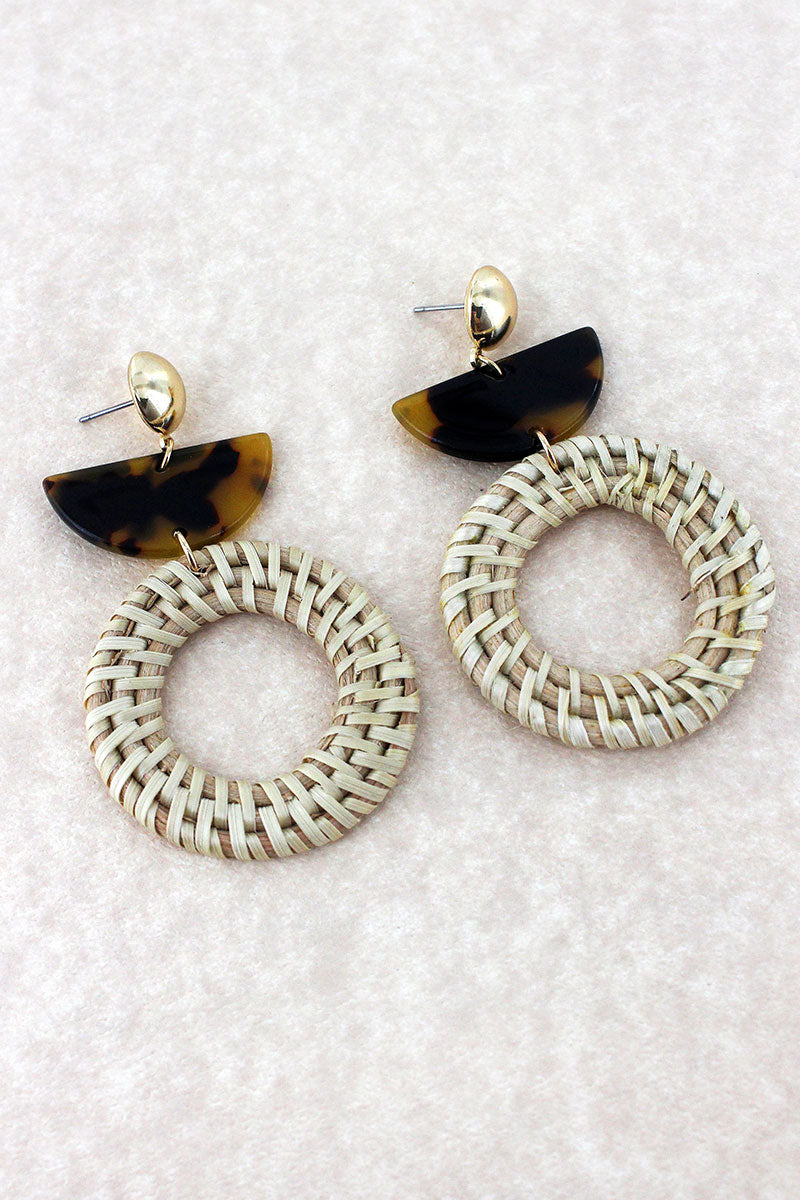 Tortoiseshell Half Moon and Rattan Circle Earrings