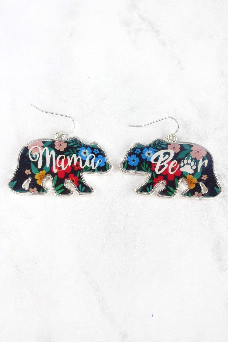 Floral Mama Bear Silvertone Earrings
