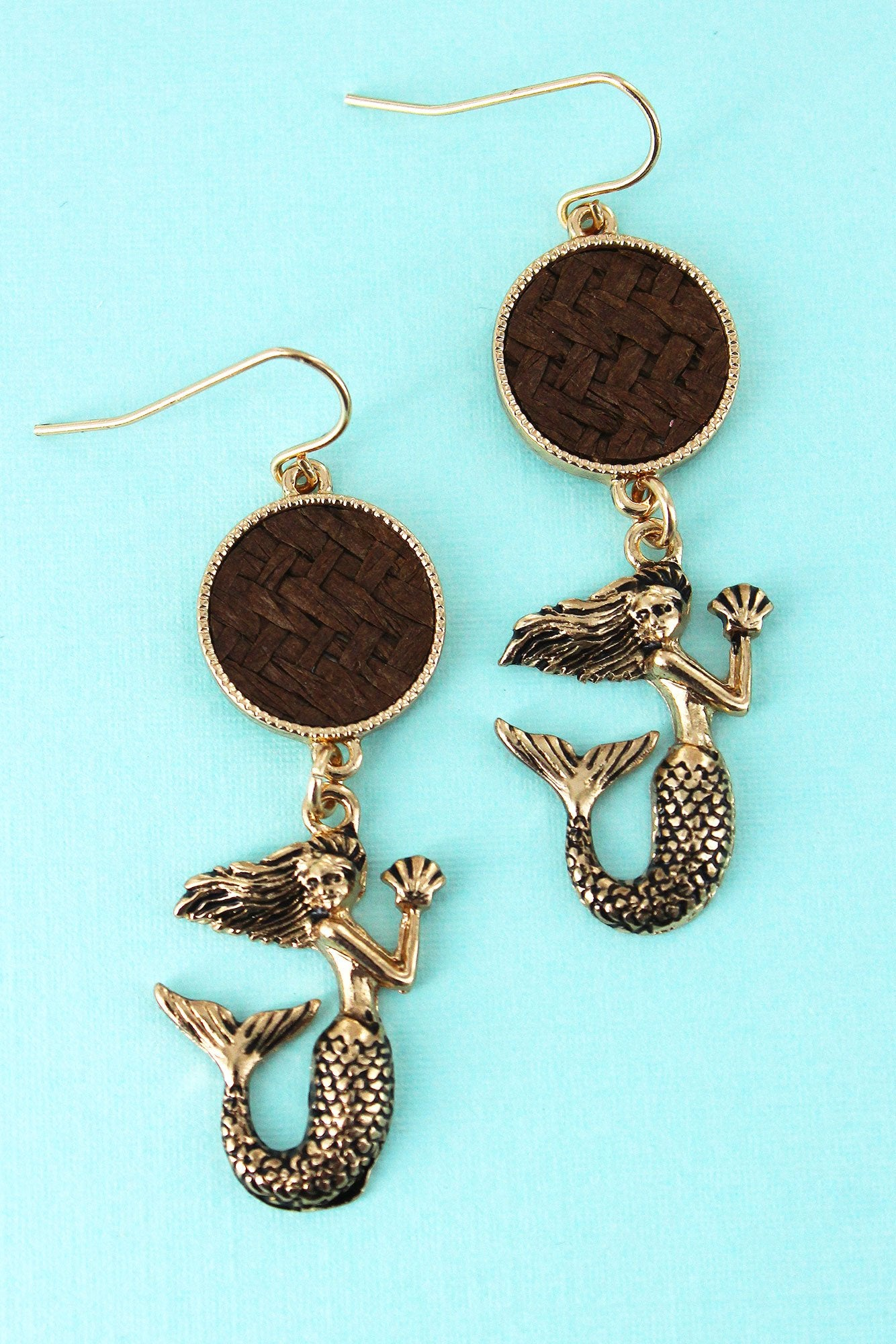 Brown Rattan Disk and Goldtone Mermaid Earrings
