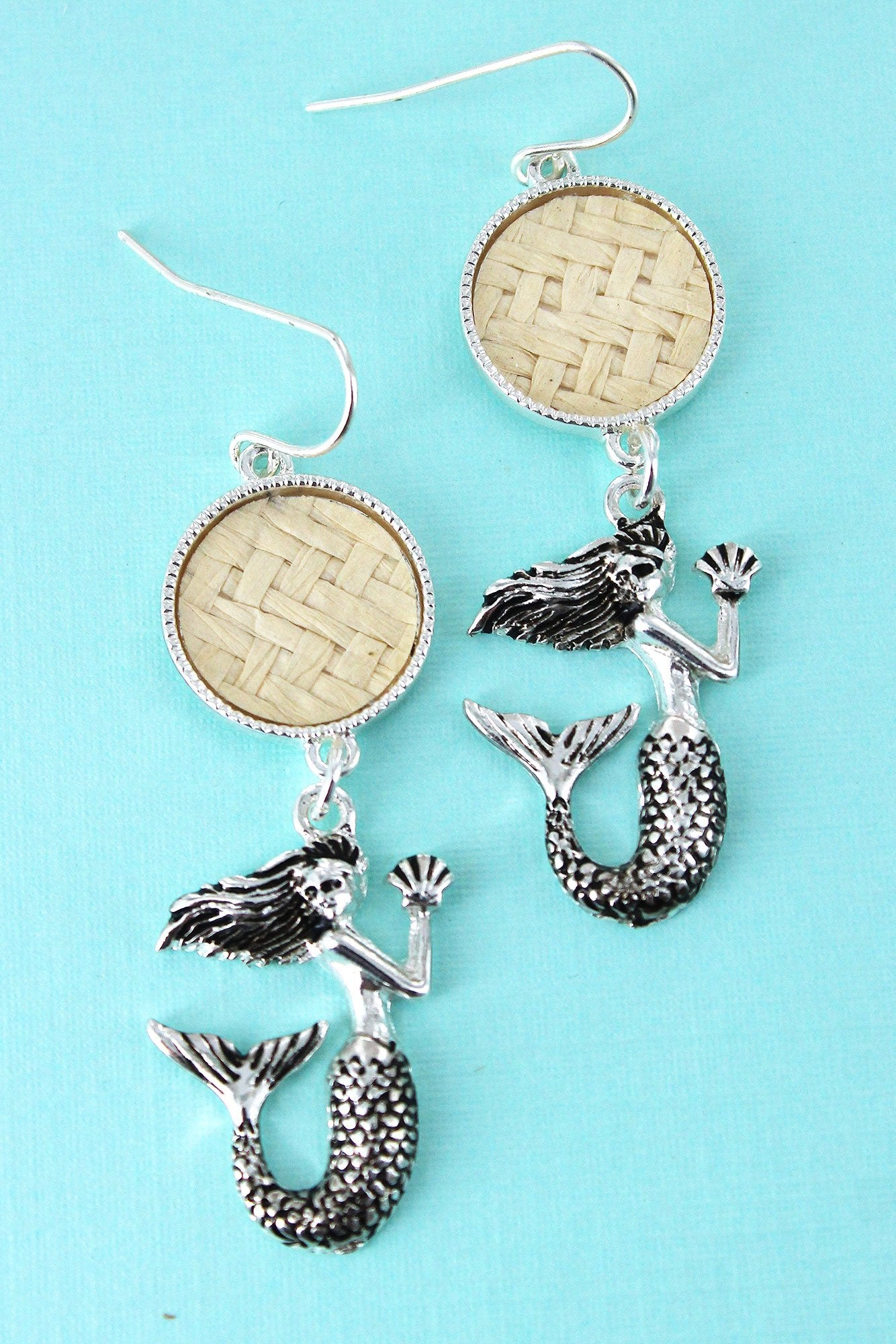 Ivory Rattan Disk and Silvertone Mermaid Earrings