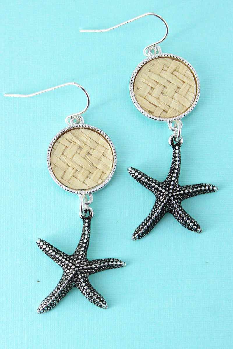 Ivory Rattan Disk and Silvertone Starfish Earrings