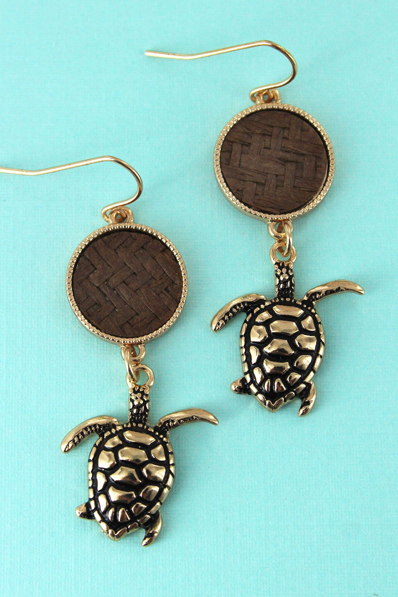 Brown Rattan Disk and Goldtone Turtle Earrings