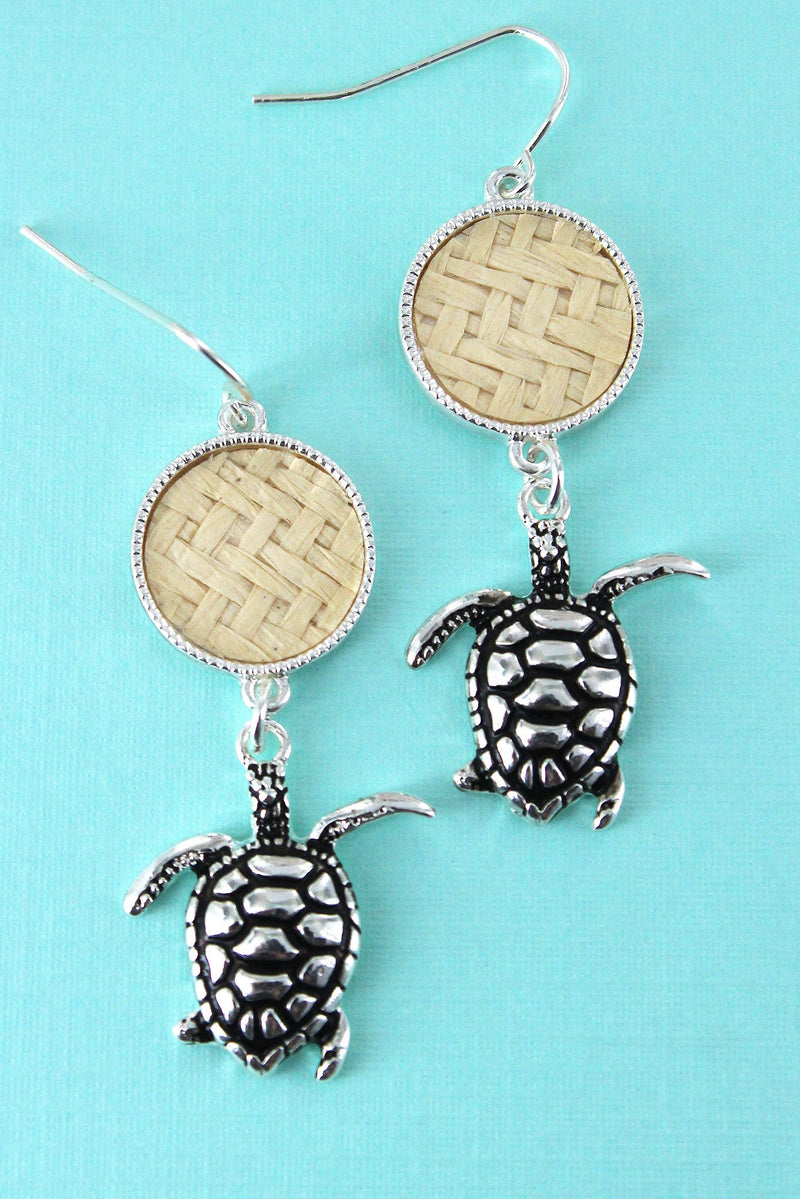 Ivory Rattan Disk and Silvertone Turtle Earrings