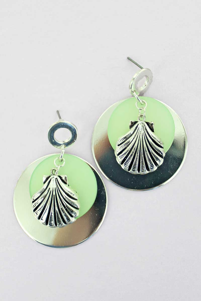 SALE! Layered Silvertone and Mint Seashell Disk Earrings