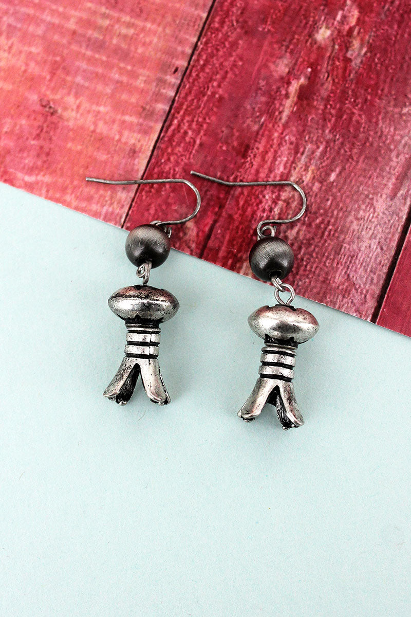 Navajo Pearl and Burnished Silvertone Squash Blossom Earrings