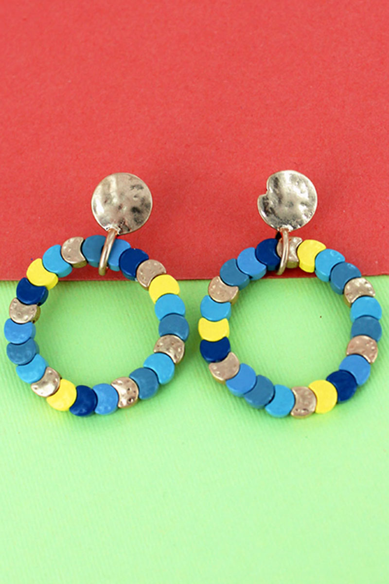 Blue Multi-Color Overlapping Disk Circle Earrings