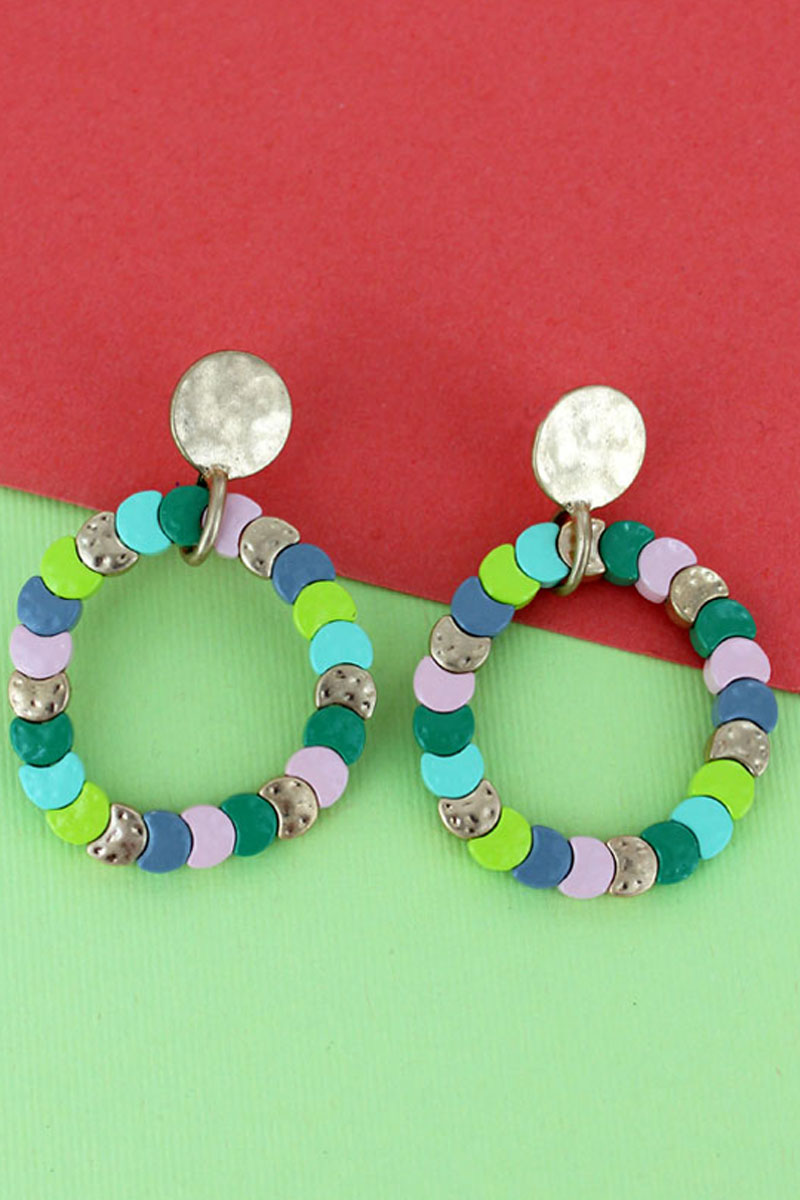 Mint Multi-Color Overlapping Disk Circle Earrings
