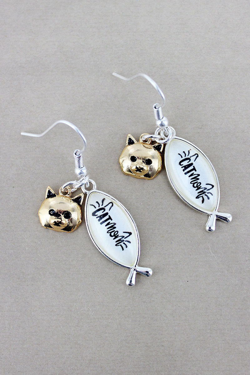 Two-Tone 'Cat Mom' Bubble Fish with Cat Charm Earrings