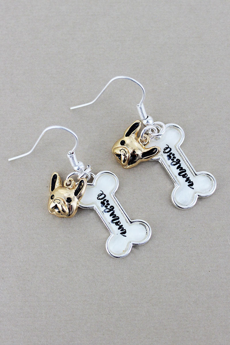 Two-Tone 'Dog Mom' Bubble Bone with Dog Charm Earrings