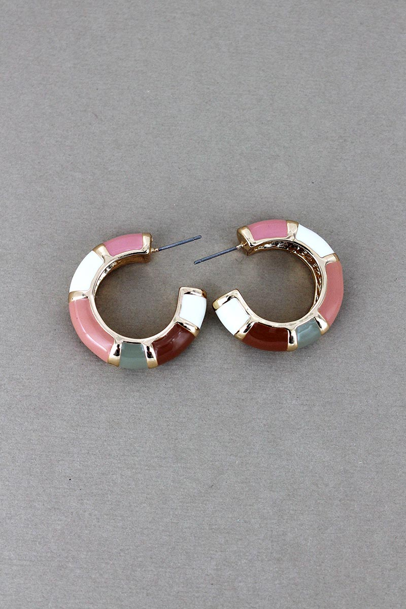 Light Pink Colorblock Hoop Earrings