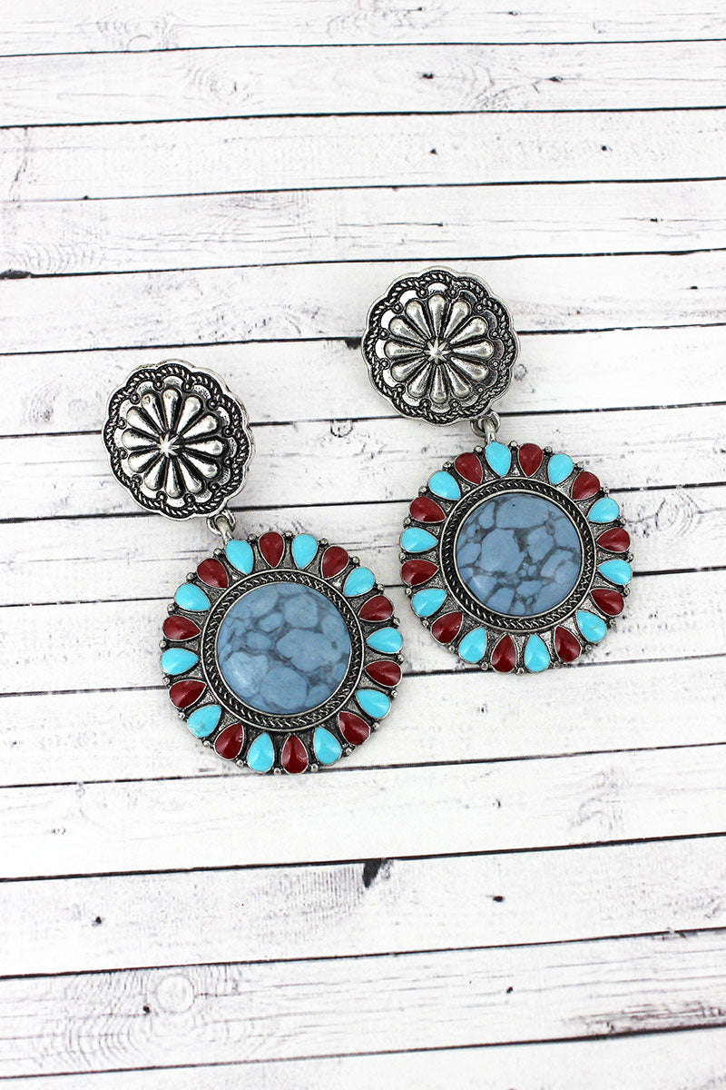 Turquoise & Red Trimmed Steel Blue Stone Flower Drop Earrings
