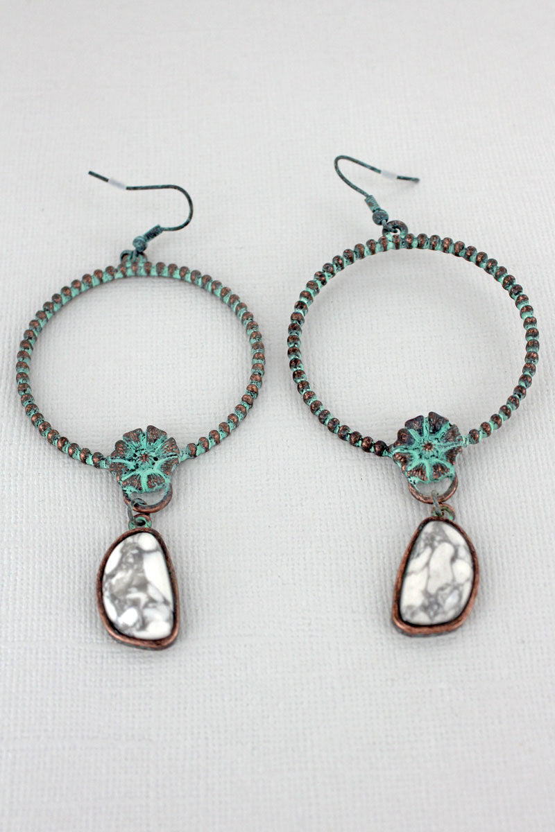 Patina Flower Hoop with White Stone Charm Earrings