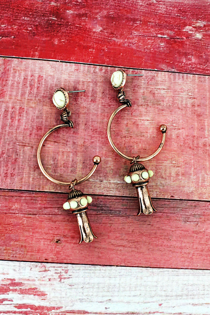 White Beaded Coppertone Squash Blossom Drop Hoop Earrings