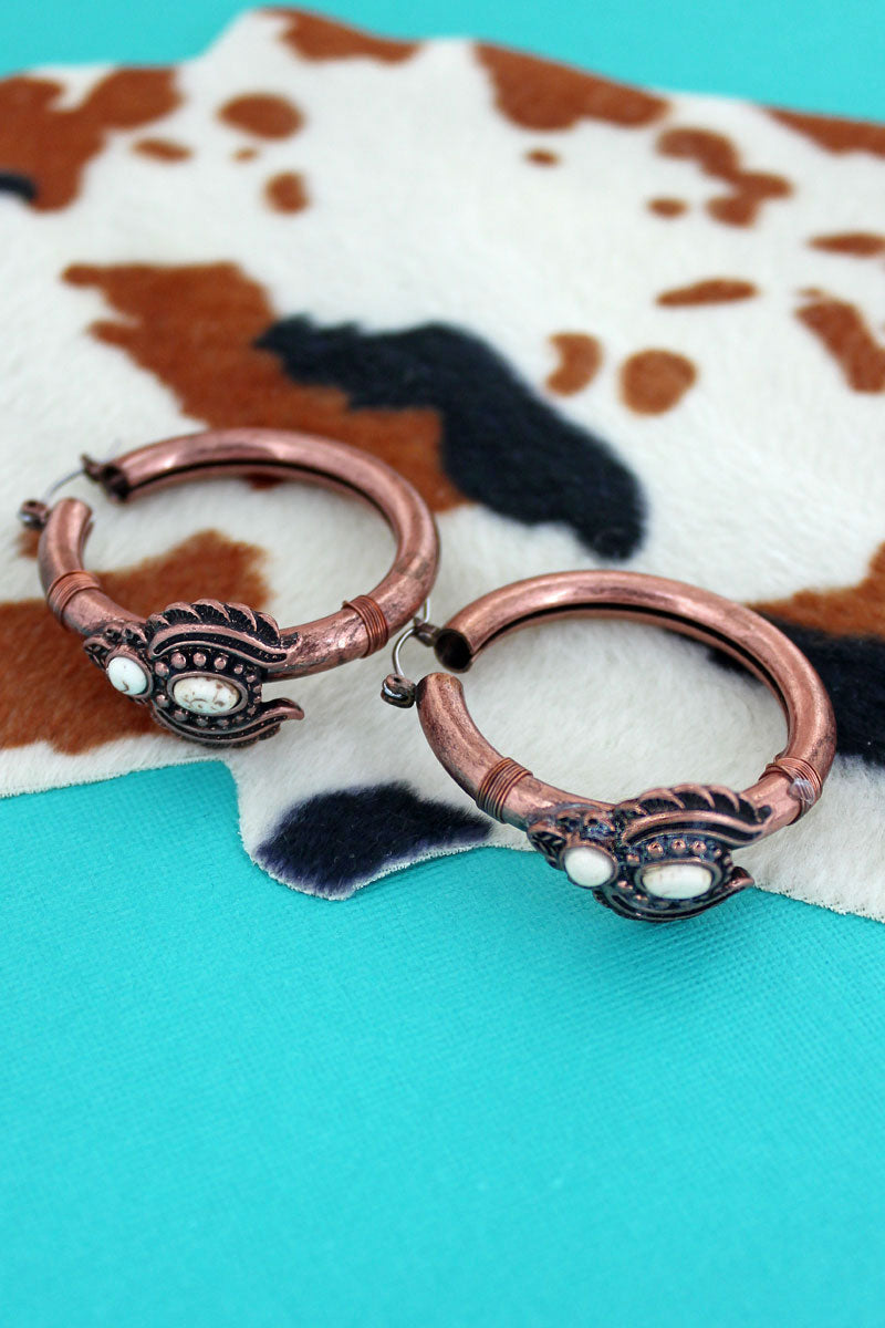 White Beaded Coppertone Naja Hoop Earrings