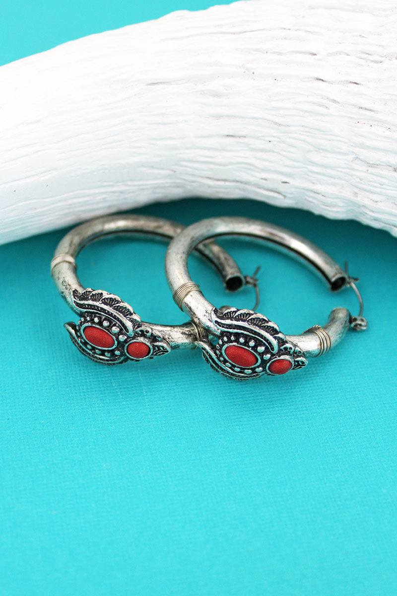 Red Beaded Silvertone Naja Hoop Earrings