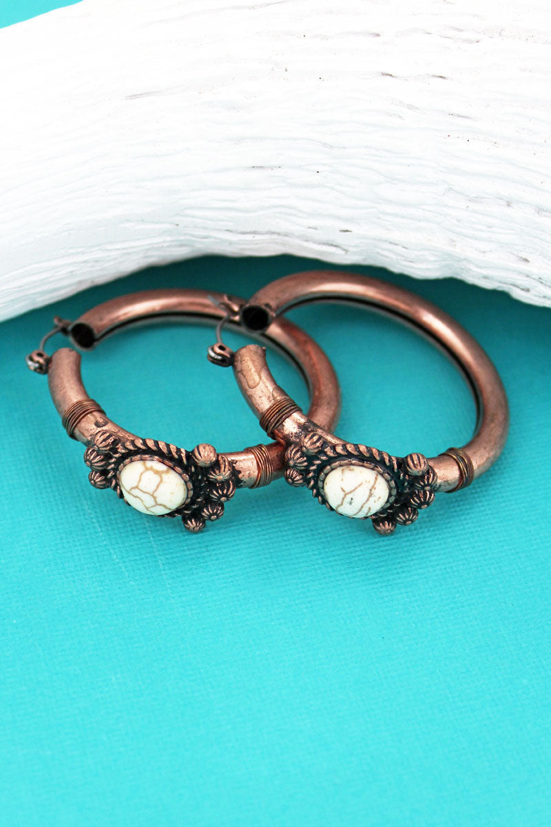 White Stone and Coppertone Western Hoop Earrings
