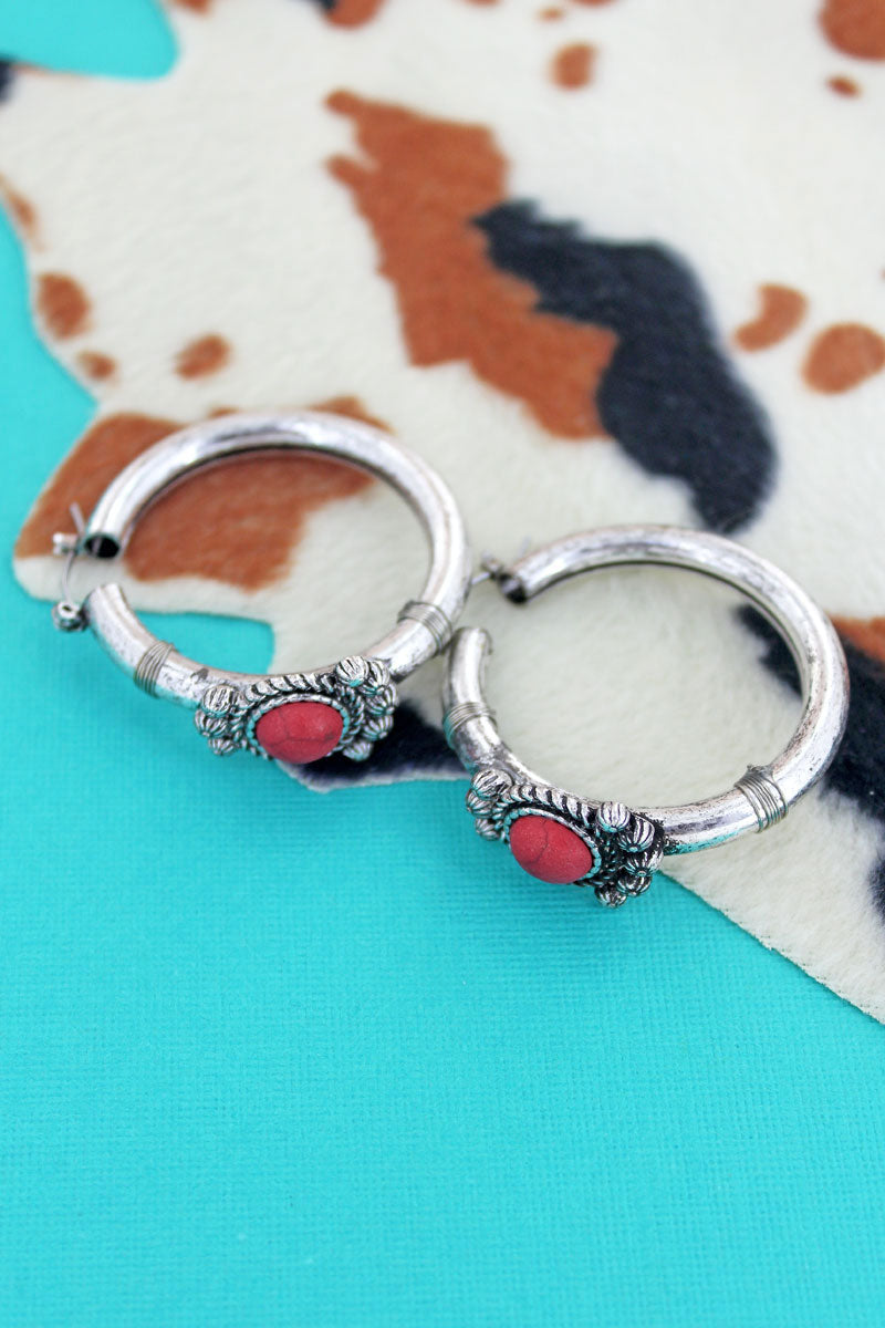 Red Stone and Silvertone Western Hoop Earrings