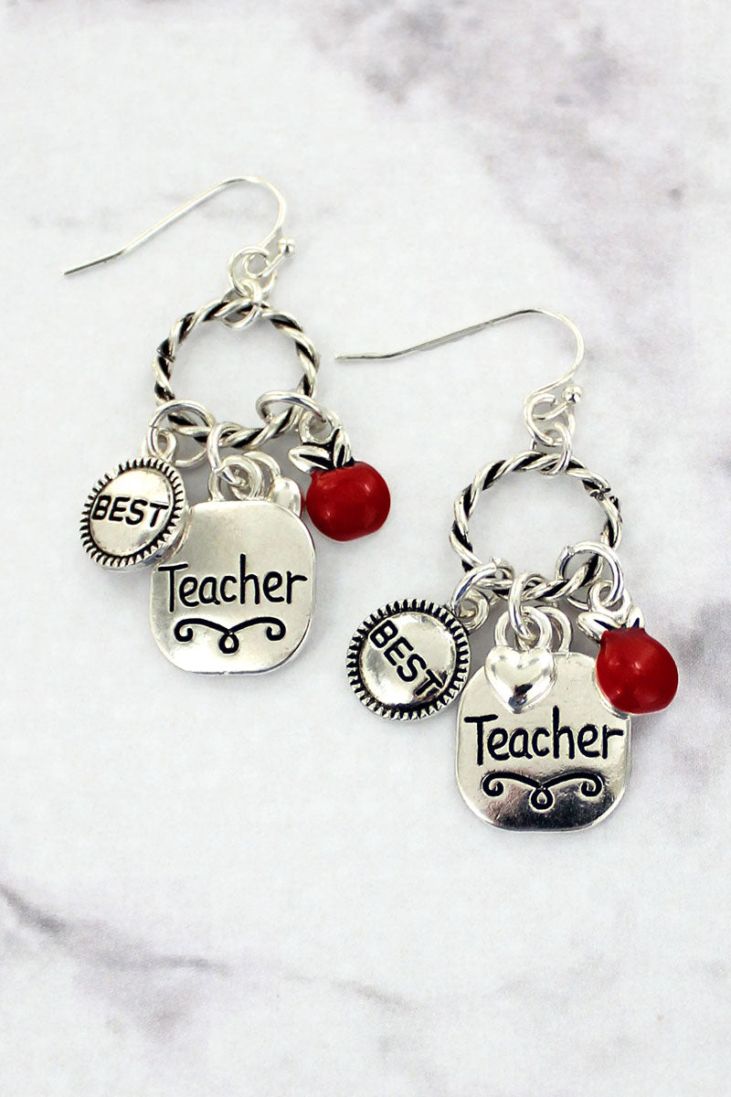 Silvertone Teacher Charm Twisted Hoop Earrings