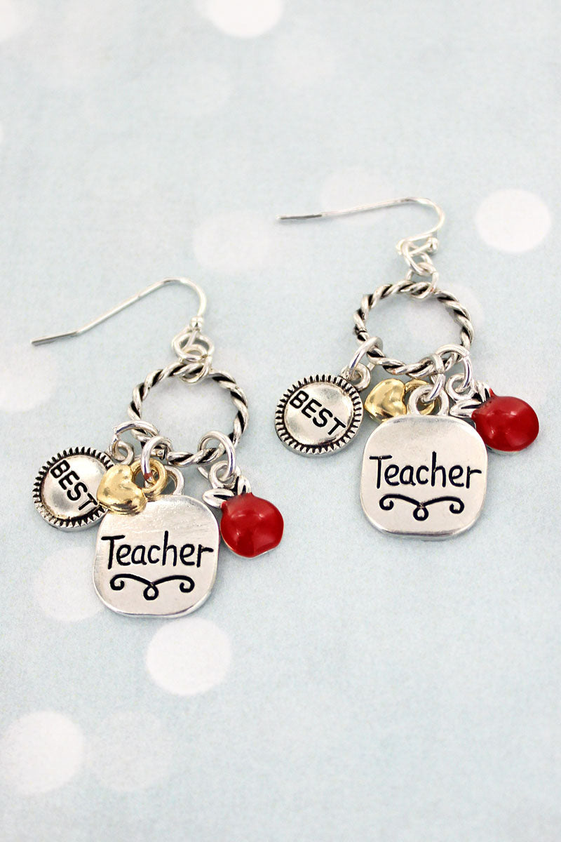 Two-Tone Teacher Charm Twisted Hoop Earrings