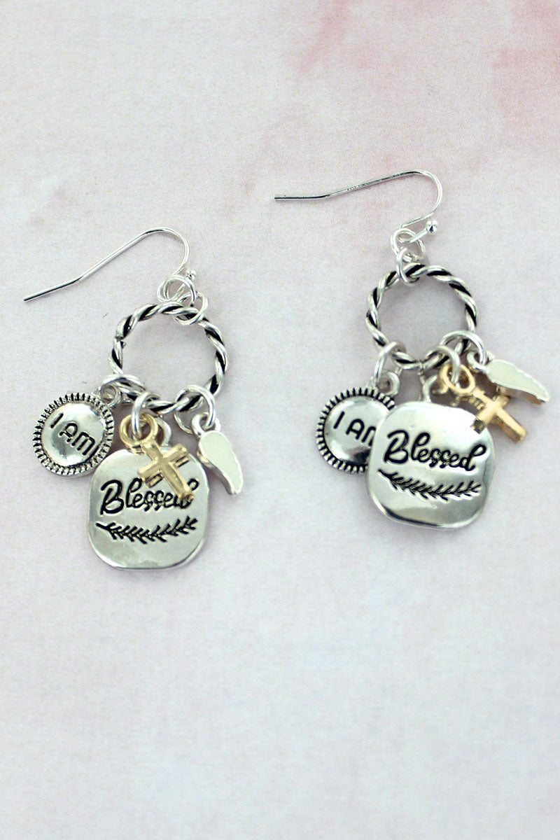Two-Tone Blessed Charm Twisted Hoop Earrings